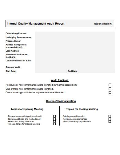 internal quality management audit report