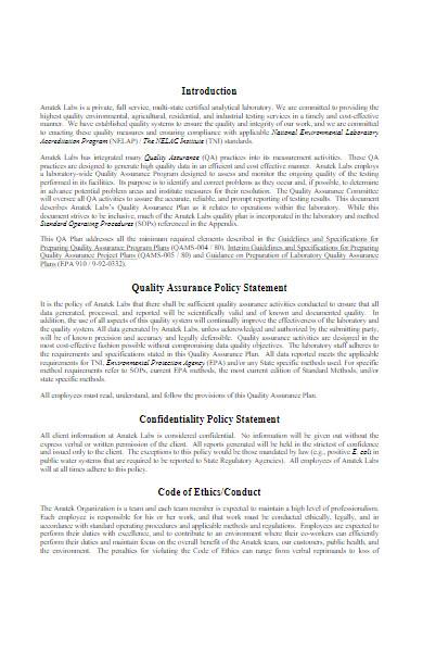 laboratory quality assurance plan