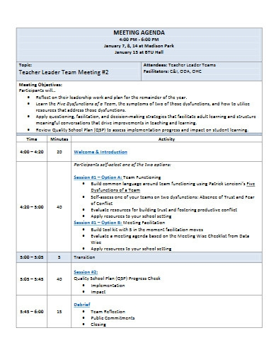 leader team meeting agenda