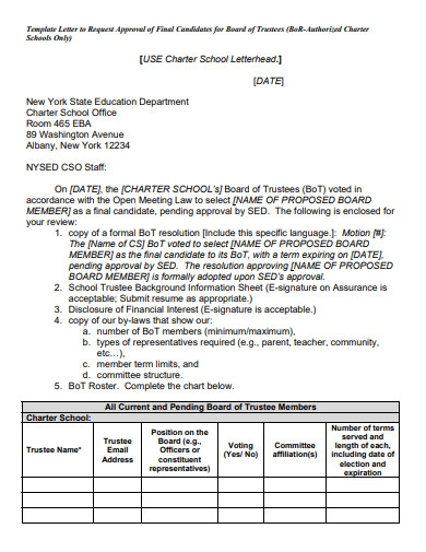 letter to request approval of new board members