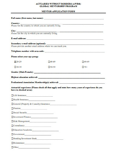 mentor application form in pdf