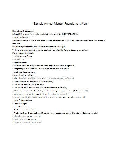 mentor recruitment plan