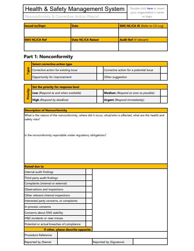 non conformance and audit report template