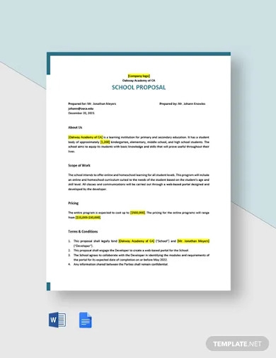 one page school proposal template