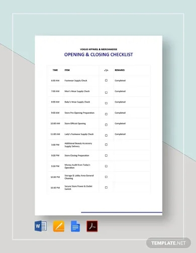 opening and closing checklist template
