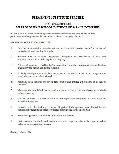 permanent substitute teacher job description