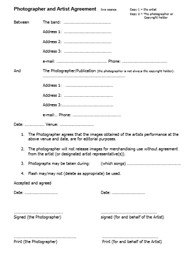 photographer and artist agreement