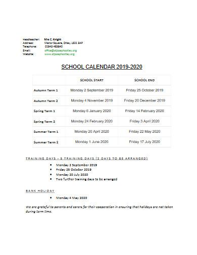 primary school calendar
