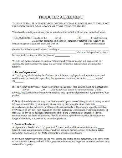 producer contract agreement