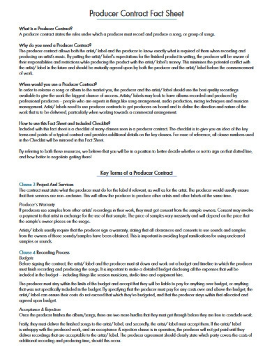 producer contract fact sheet