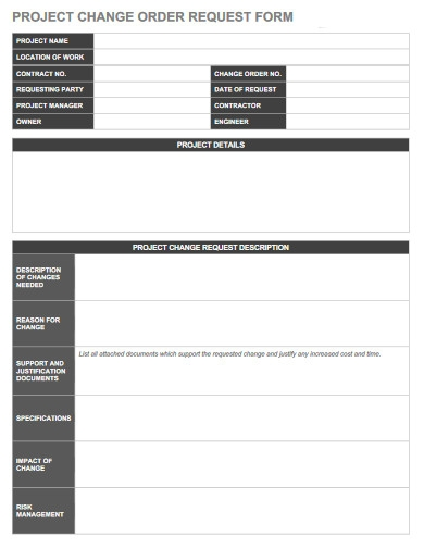 project change order request form