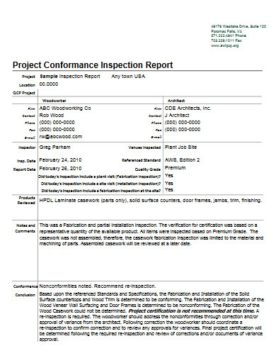 project conformance inspection report