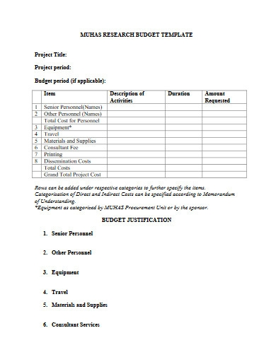 project research budget template