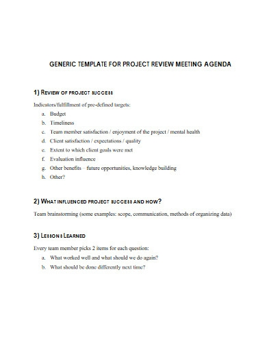 project review agenda