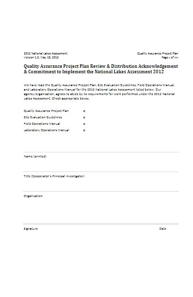 quality assurance project plan template