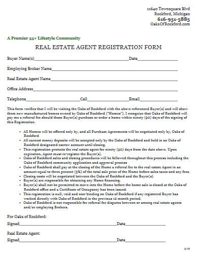 real estate agent registration form