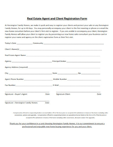 real estate agent and client registration form