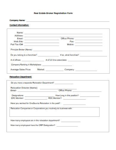 real estate broker registration form