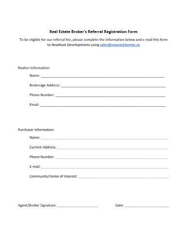 real estate brokers referral registration form