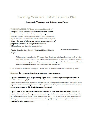 real estate business plan format