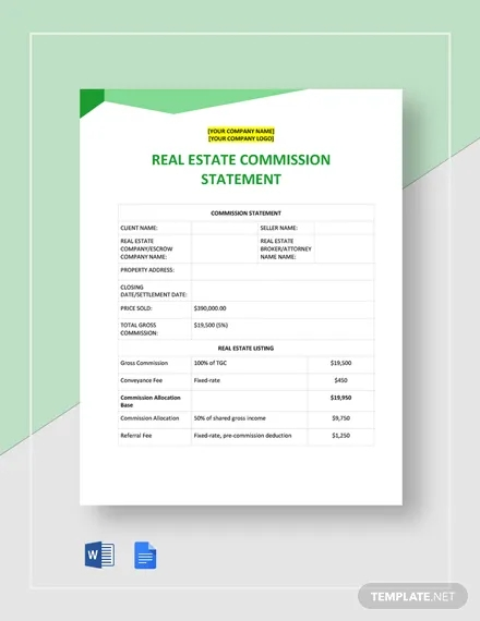 real estate commission statement template
