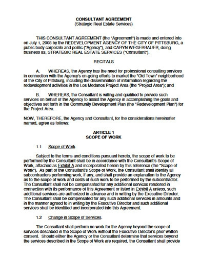 real estate consultant agreement
