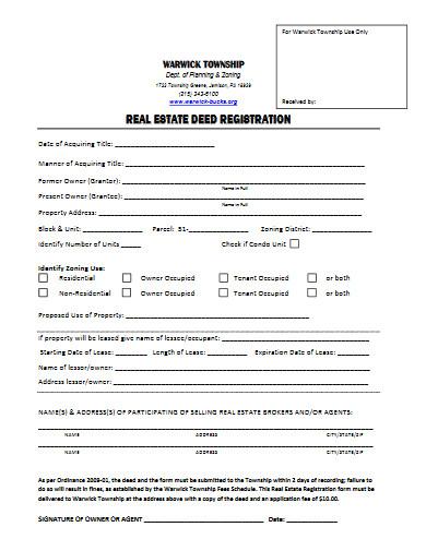 real estate deed registration form