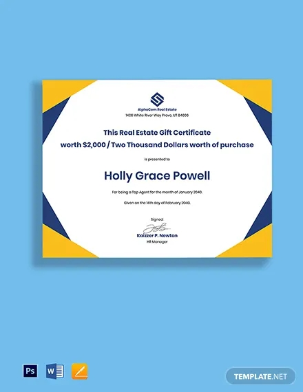 real estate gift certificate template