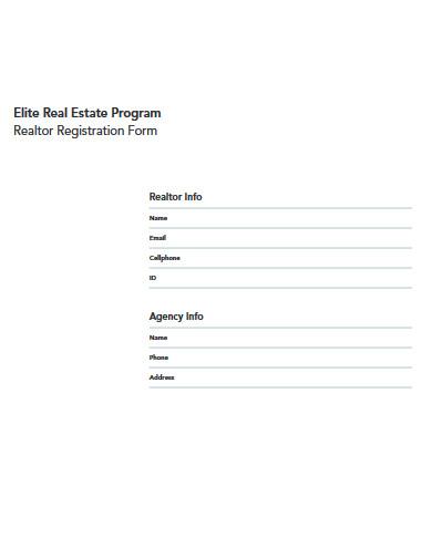 real estate program realtor registration form