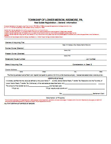 real estate registration form example