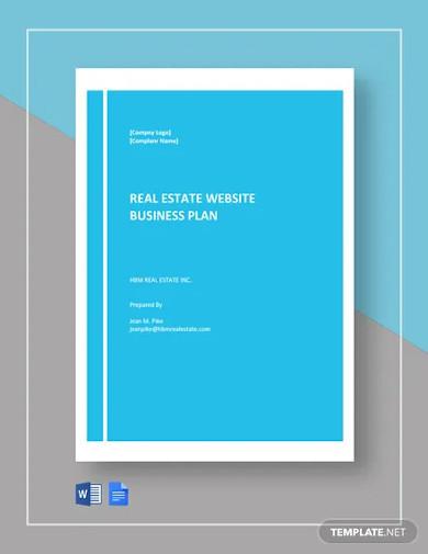 real estate website business plan template