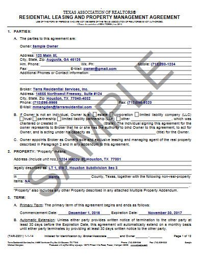 realtors property management agreement