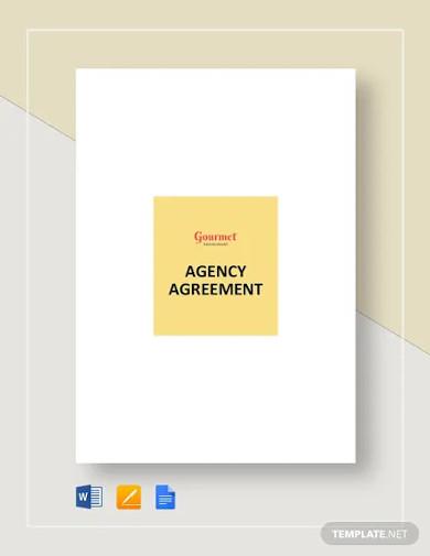 restaurant agency agreement template