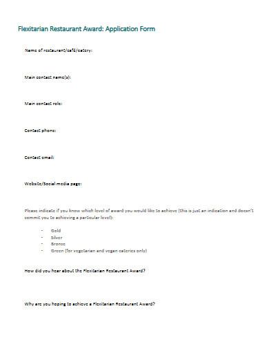 restaurant awards application form