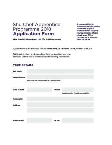 restaurant chef apprentice application form