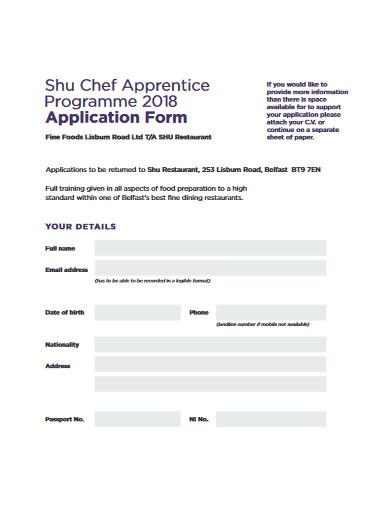 restaurant chef apprentice application form