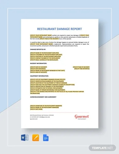 restaurant damage report template