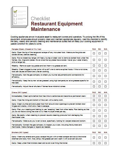 restaurant equipment maintenance checklist