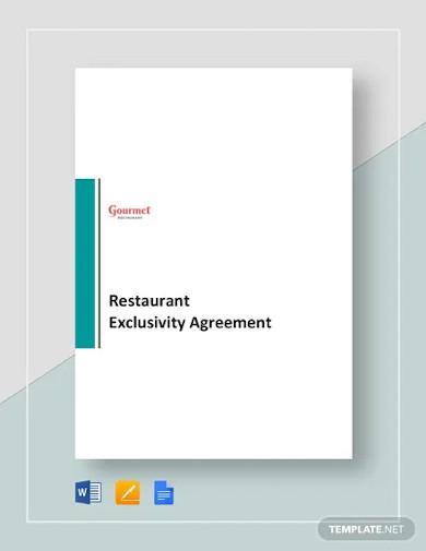 restaurant exclusivity agreement template