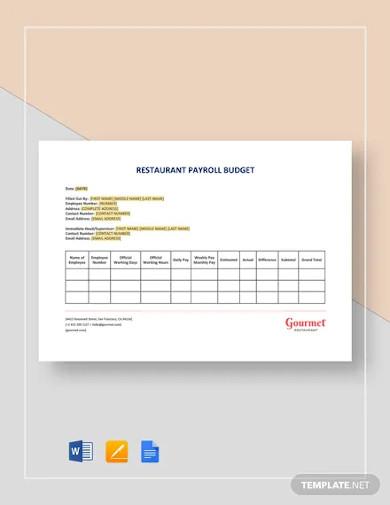 restaurant payroll budget template