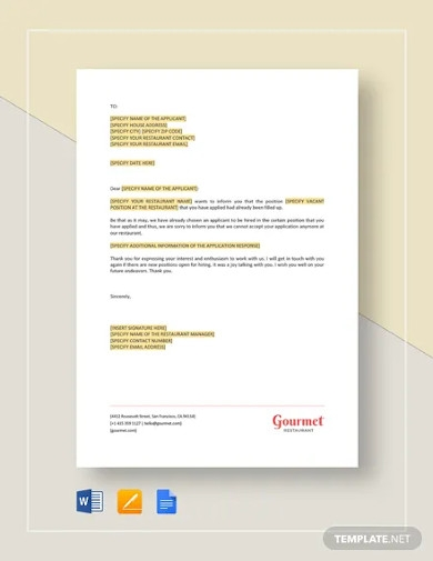 restaurant rejection of application for employment template