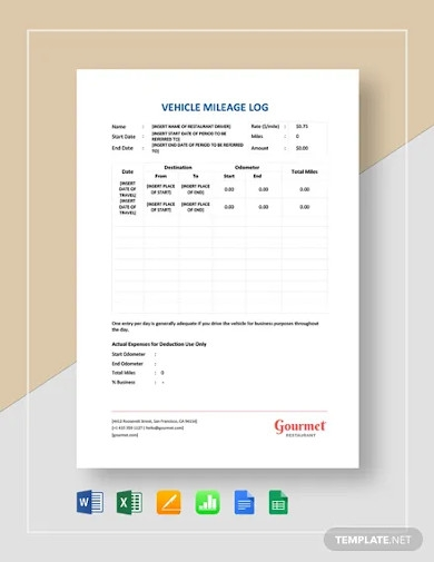 restaurant vehicle mileage log template