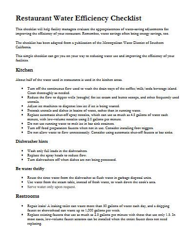 restaurant water efficiency checklist