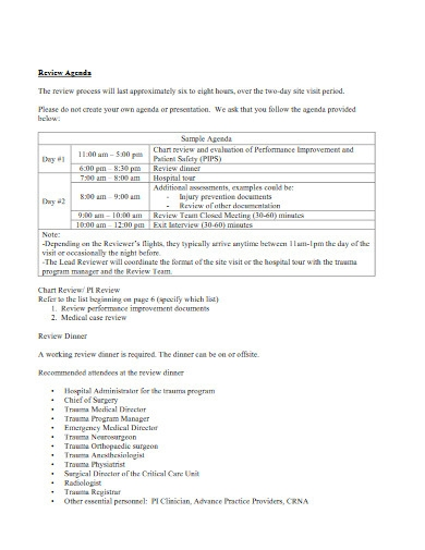 review agenda and logistics template