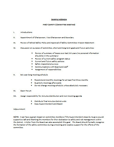 safety committee meeting agendas