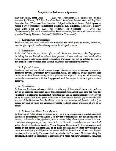 sample artist performance agreement