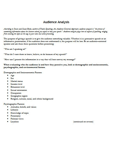 sample audience analysis