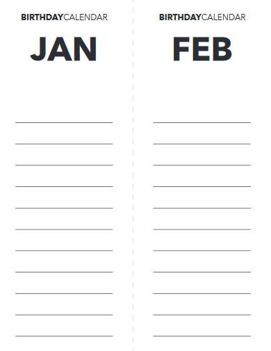 sample birthday calendar