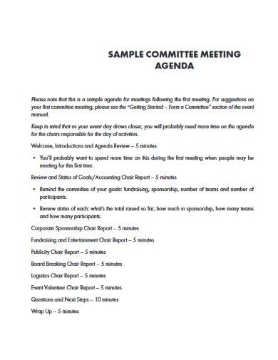 sample committee meeting agenda