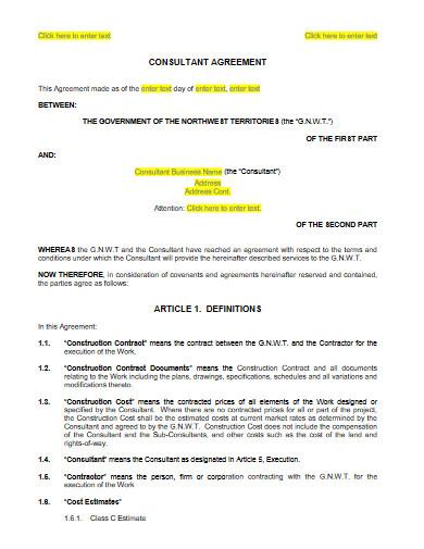sample consultant agreement